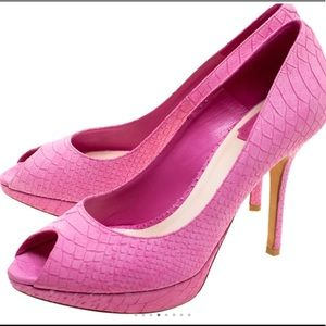 DIOR Pink Python Embossed Leather Heels